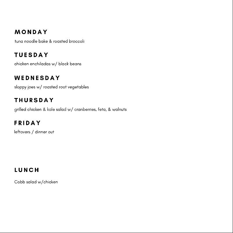Meal Plan – Week 2